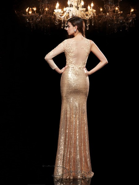 Trumpet/Mermaid Sequins 3/4 Sleeves Scoop Long dresses