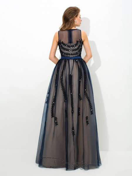 A-Line/Princess Tulle Sleeveless Sheer Neck Applique Long dresses