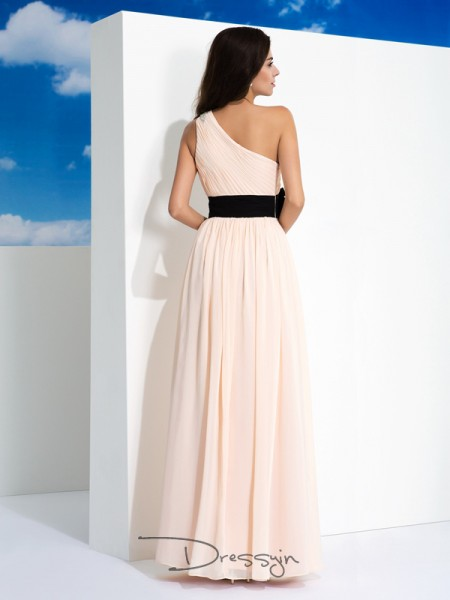 A-Line/Princess Chiffon Sleeveless One-Shoulder Sash/Ribbon/Belt Long dresses
