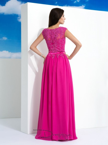A-Line/Princess Chiffon Sleeveless Sheer Neck Long dresses