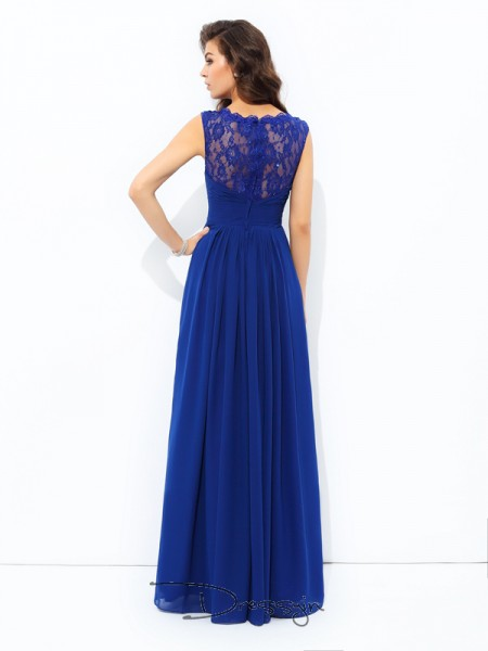 A-Line/Princess Chiffon Sleeveless Scoop Long dresses