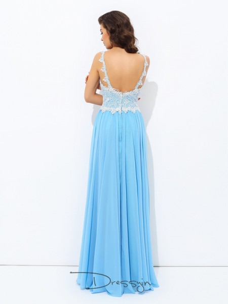 A-Line/Princess Chiffon Sleeveless V-neck Long dresses