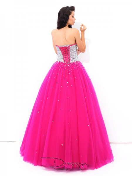 Ball Gown Satin Sleeveless Sweetheart Beading Long Quinceanera Dresses