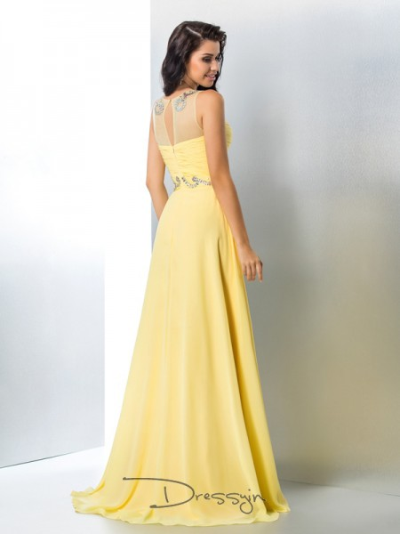 A-Line/Princess Chiffon Sleeveless Sheer Neck Beading Long dresses