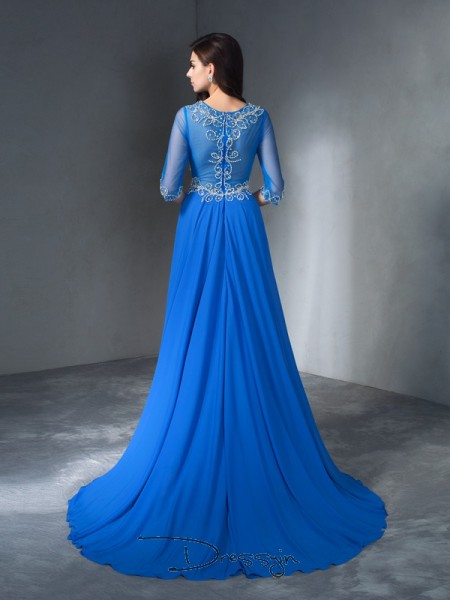 A-Line/Princess Chiffon 1/2 Sleeves Scoop Beading Long dresses