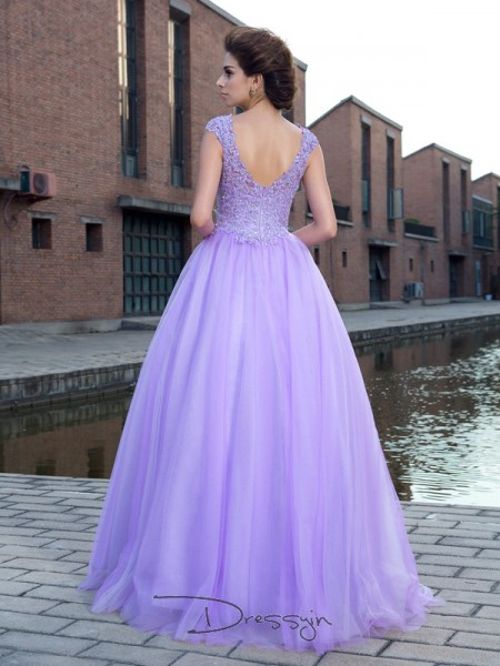 Ball Gown Net Short Sleeves V-neck Applique Long dresses