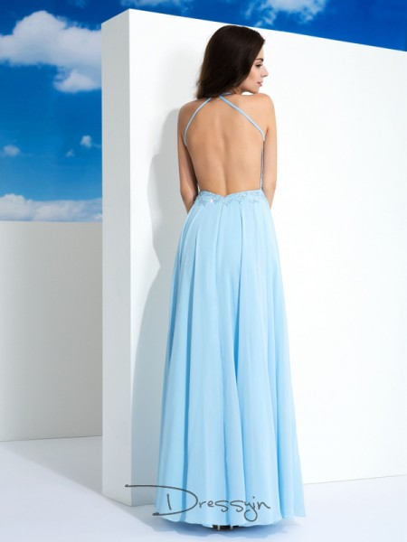 A-Line/Princess Chiffon Sleeveless Spaghetti Straps Applique Long dresses