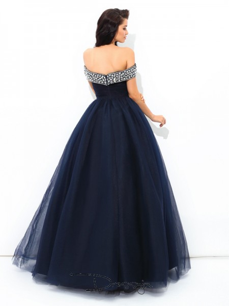 Ball Gown Net Sleeveless Off-the-Shoulder Beading Long Quinceanera Dresses