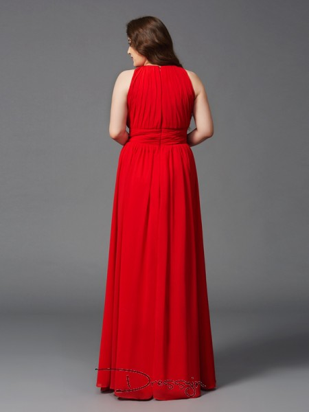 A-Line/Princess Chiffon Sleeveless Jewel Ruched Long Plus Size Dress