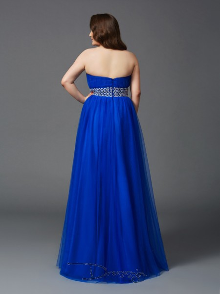 A-Line/Princess Net Sleeveless Strapless Rhinestone Long Plus Size Dress