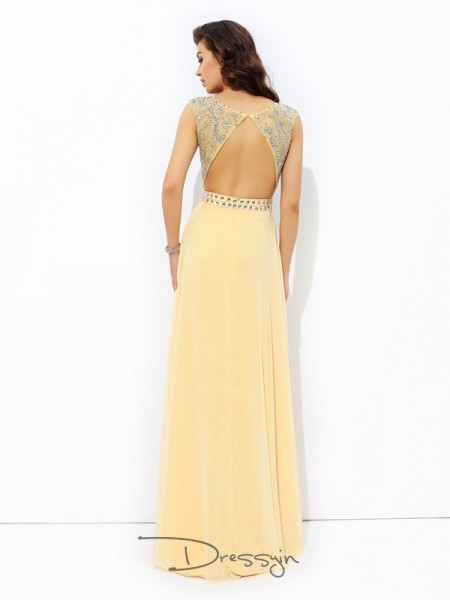 A-Line/Princess Chiffon Sleeveless Bateau Beading Long dresses