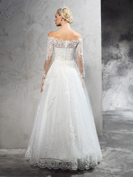 Ball Gown Net Long Sleeves Off-the-Shoulder Long Wedding Dresses
