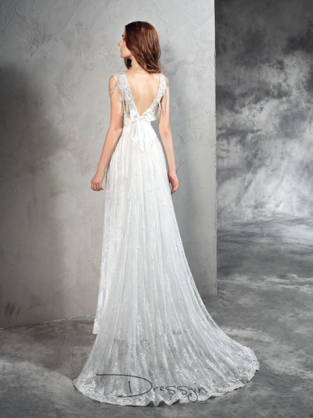 A-Line/Princess Lace Sleeveless Straps Court Train Wedding Dresses