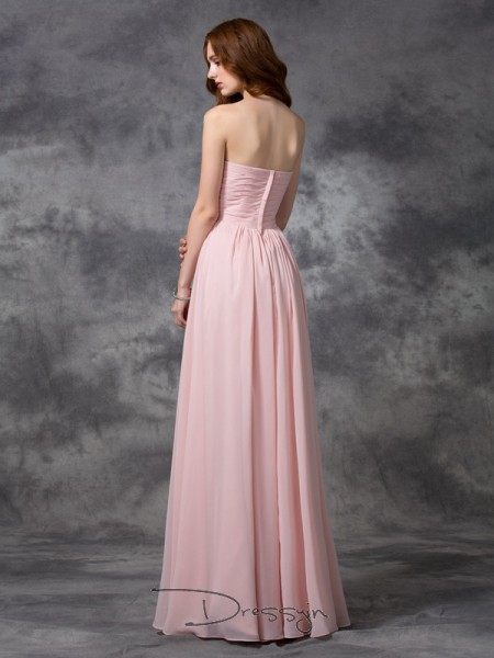 A-Line/Princess Chiffon Sleeveless Sweetheart Ruched Long Bridesmaid Dresses