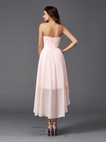 A-Line/Princess Chiffon Sleeveless Sweetheart Ruffles Asymmetrical Bridesmaid Dresses