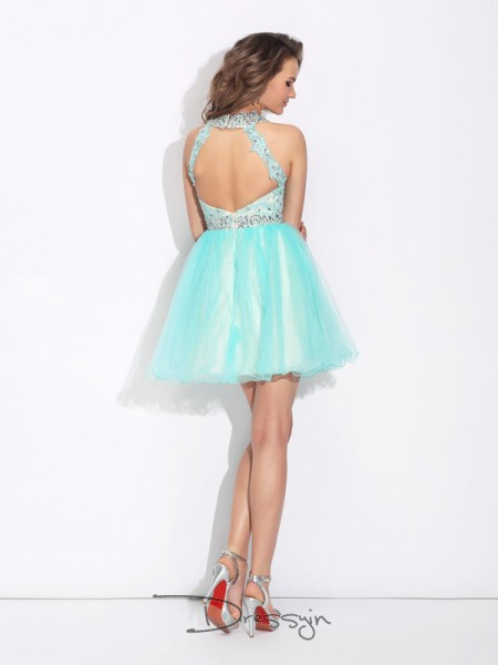 A-Line/Princess Net Sleeveless High Neck Short Dresses