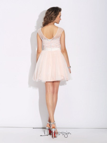 A-Line/Princess Net Short Sleeves Bateau Ruffles Short Dresses