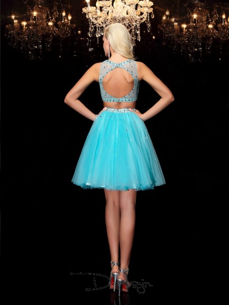 A-Line/Princess Net Sleeveless Scoop Rhinestone Short Dresses