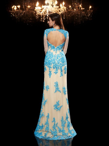 Trumpet/Mermaid Net 3/4 Sleeves Sweetheart Applique Long dresses