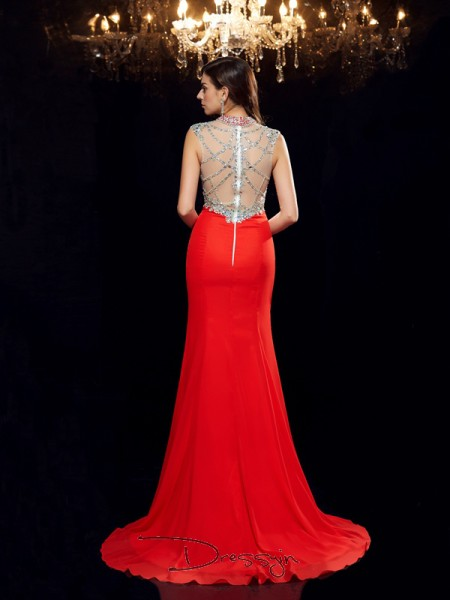 Trumpet/Mermaid Chiffon Sleeveless Scoop Beading Long dresses