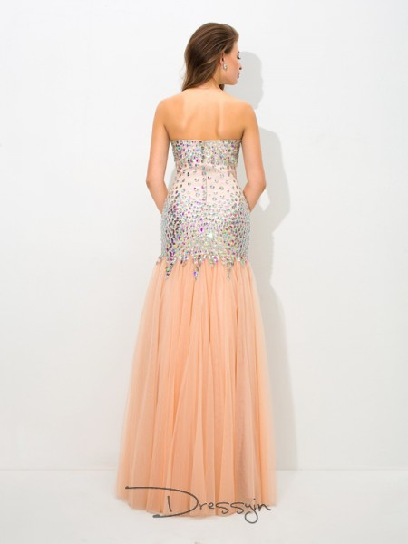 Trumpet/Mermaid Net Sleeveless Sweetheart Beading Long dresses