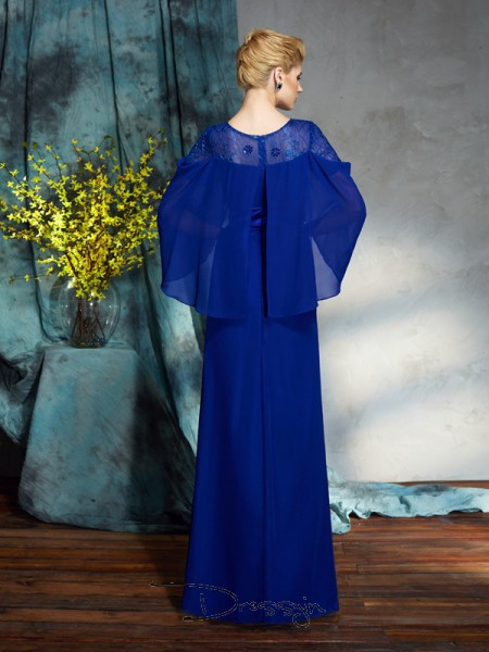 Sheath/Column Chiffon Long Sleeves Bateau Long dresses