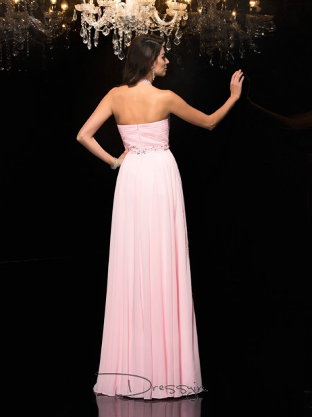 A-Line/Princess Chiffon Sleeveless Halter Beading Long dresses
