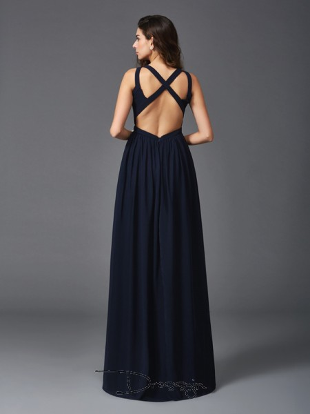 A-Line/Princess Chiffon Sleeveless Straps Long Dress