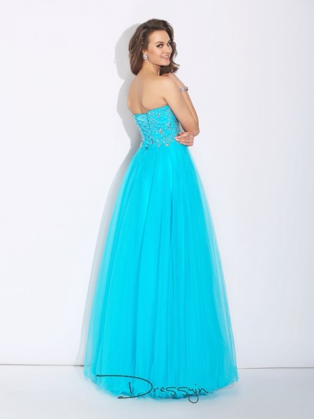 A-Line/Princess Satin Sleeveless Sweetheart Rhinestone Long dresses