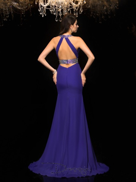 Trumpet/Mermaid Chiffon Sleeveless V-neck Beading Long dresses