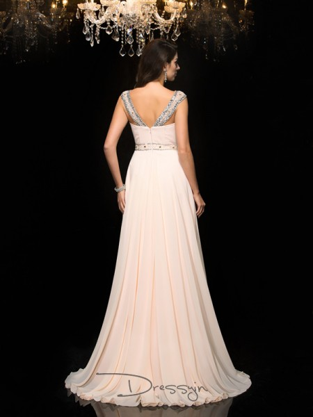 A-Line/Princess Chiffon Sleeveless Scoop Beading Long dresses