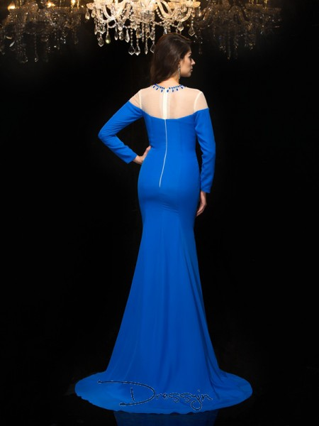 Sheath/Column Chiffon Long Sleeves Jewel Beading Long dresses