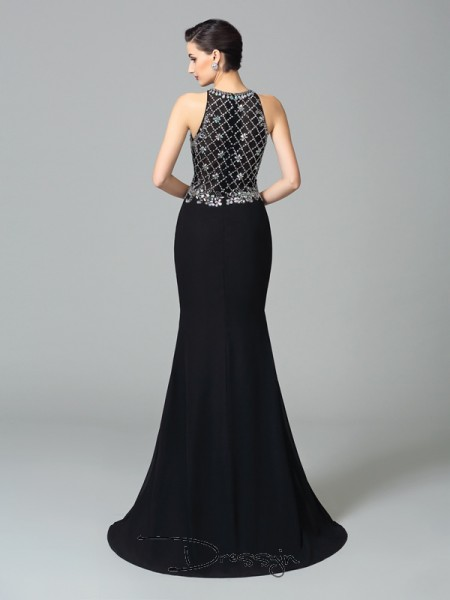 Trumpet/Mermaid Chiffon Sleeveless Jewel Rhinestone Long dresses