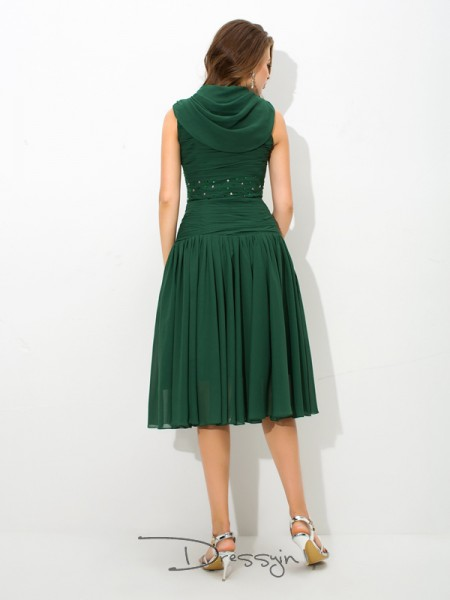 A-Line/Princess Chiffon Sleeveless Scoop Pleats Knee-Length dresses