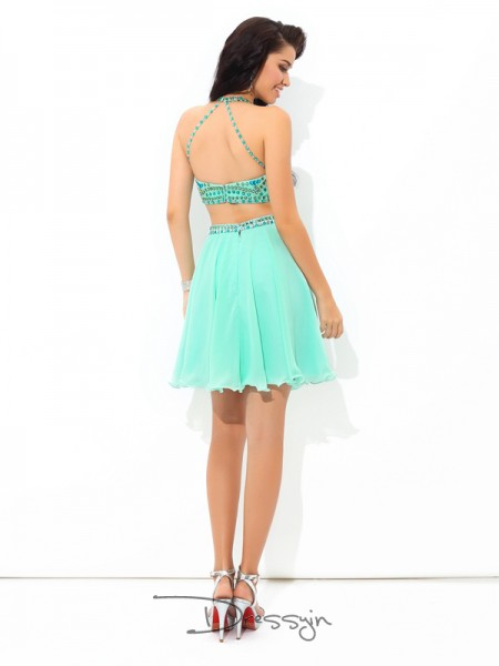 A-Line/Princess Chiffon Sleeveless Sheer Neck Rhinestone Short Dresses