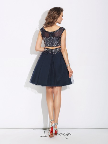 A-Line/Princess Net Sleeveless Bateau Beading Short dresses