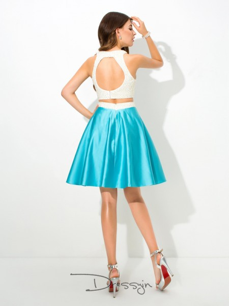 A-Line/Princess Satin Sleeveless Jersey Beading Short dresses
