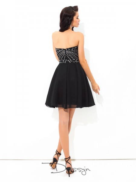 A-Line/Princess Chiffon Sleeveless Sweetheart Paillette Short Dresses