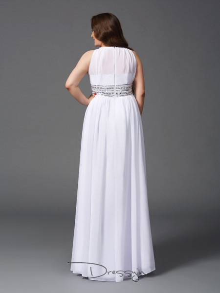 A-Line/Princess Chiffon Sleeveless Jewel Beading Long Plus Size Dress