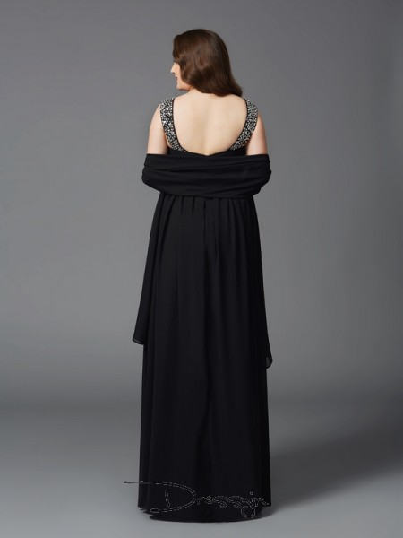 A-Line/Princess Chiffon Sleeveless Scoop Rhinestone Long Plus Size Dress