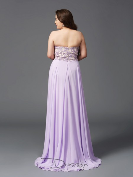 A-Line/Princess Chiffon Sleeveless Sweetheart Long Plus Size Dress