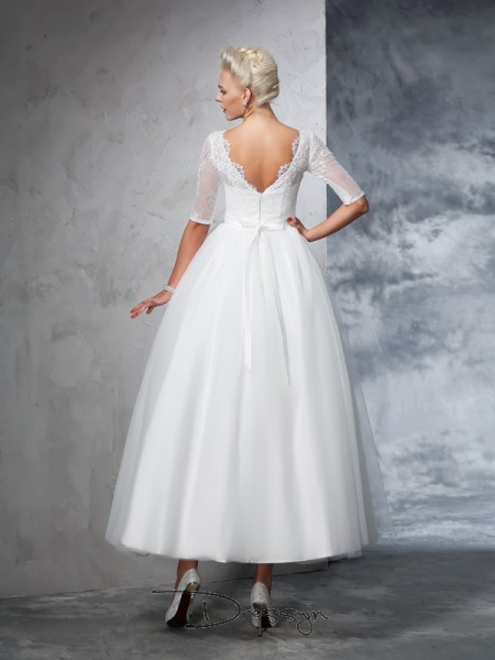 Ball Gown Net 1/2 Sleeves Bateau Ankle-Length Wedding Dresses