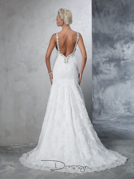 Trumpet/Mermaid Lace Sleeveless Spaghetti Straps Chapel Train Wedding Dresses