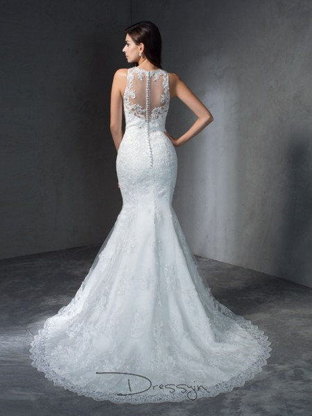 Trumpet/Mermaid Lace Sleeveless Scoop Applique Court Train Wedding Dresses
