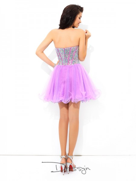 A-Line/Princess Net Sleeveless Sweetheart Paillette Short Dresses