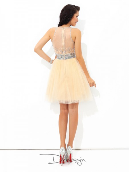 A-Line/Princess Net Sleeveless Sheer Neck Beading Short Dresses