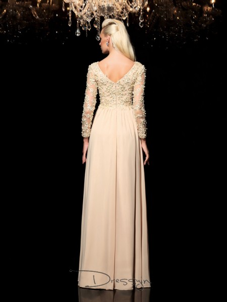 A-Line/Princess Chiffon Long Sleeves V-neck Applique Long dresses