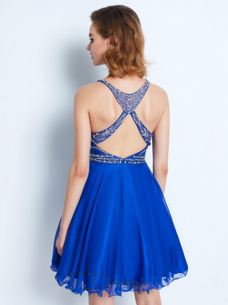 A-Line/Princess Sleeveless Scoop Beading Chiffon Short dress