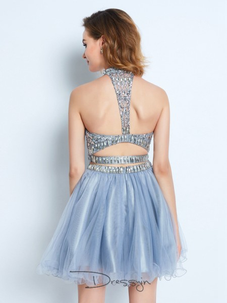A-Line/Princess Sleeveless High Neck Beading Net Short dress