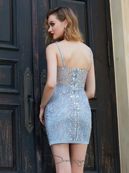 Sheath/Column Sleeveless Spaghetti Straps Sequin Net Short dress